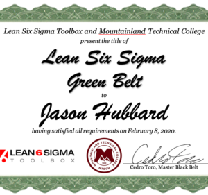 Lean Six Sigma Toolbox Green Belt Certificate