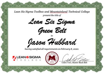 Lean Six Sigma Toolbox Green Belt Certificate